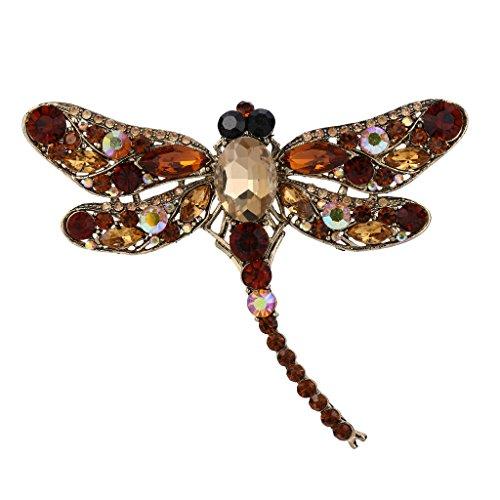 EVER FAITH Dragonfly Gold-Tone Teardrop Brooch Pin Topaz Color Austrian Crystal
