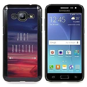 "For Samsung Galaxy J2 / J200 Case , Just Breathe inspirada Sunset Purple"" - Diseño Patrón Teléfono Caso Cubierta Case Bumper Duro Protección Case Cover Funda"