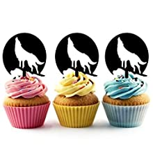 Howling Wolf Silhouette Acrylic Cupcake Toppers 12 pcs
