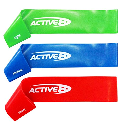 Active8 Resistance Loop Band Set.  Home Fitness Resistance Exercise Bands for Workout, Rehab, Strength Training, Physical Therapy. Handy Carry Bag, Instructions and Exercises Included For Sale