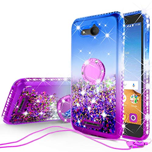 SOGA Rhinestone Liquid Quicksand Cover Cute Girl Phone Case Compatible for Alcatel Tetra /5041C Case, with Embedded Metal Ring Stand for Magnetic Car Mounts and Lanyard - Purple/Blue (Blue Metal Car)