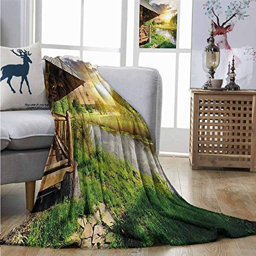 (Lightweight Blanket Nature Wooden Country House by The Lake with Horizon Background Village Rural Life View Soft Blanket Microfiber W54 xL84)
