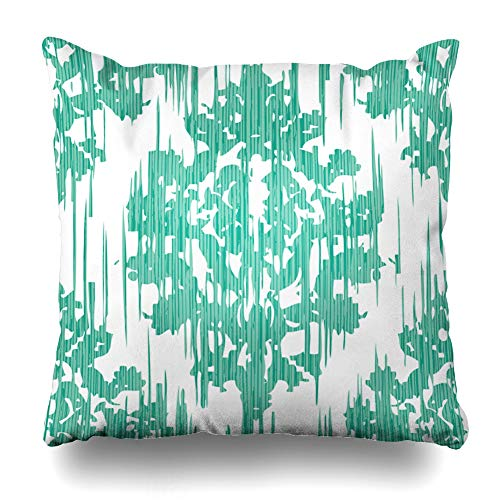 KJONG Distressed Damask Tile Ikat Artwork Fabric Square Decorativepillow Case 18 x 18 Inch Zippered Pillow Cover for Bedroom Living Room 2 Sides Print ()