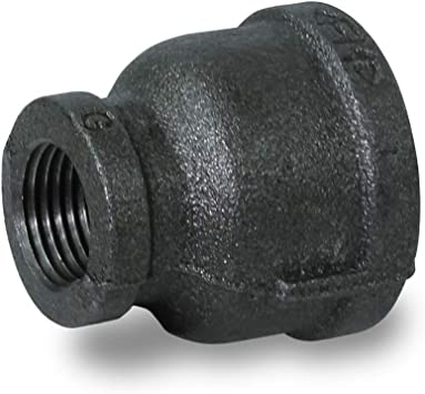 """1-1//2/"""" X 3//4/"""" BSP Reducing Socket Black Malleable Iron Pipe Fitting"""