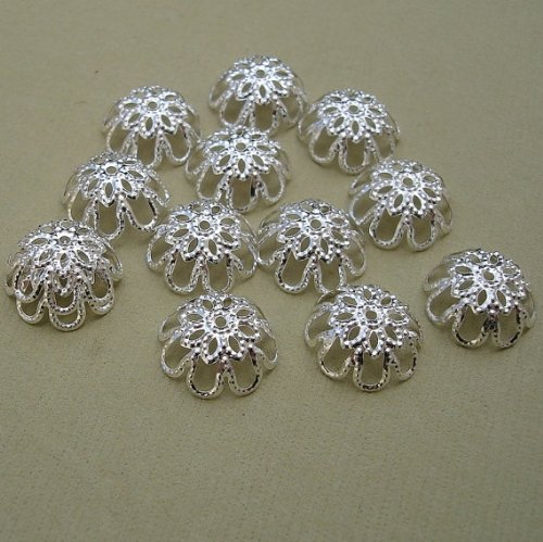 (BeadsTreasure 100pcs -Silver Plated Bead Caps 12mm Jewelry Making Supply.)