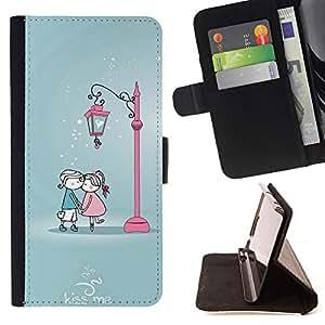 BullDog Case - FOR/Sony Xperia Z2 D6502 / - / Cute Kiss Me Couple /- Monedero de cuero de la PU Llevar cubierta de la caja con el ID Credit Card Slots Flip funda de cuer