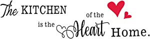The Kitchen is The Heart of The Home Red Heart Wall Sticker, Removable Vinyl Art Quote Home Décor (21.5