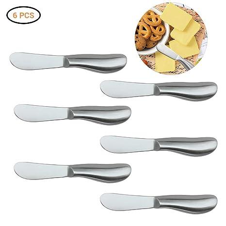 Juego de cuchillos: cuchillos multipropósito para esparcir queso y mantequilla, acero inoxidable (6 piezas)