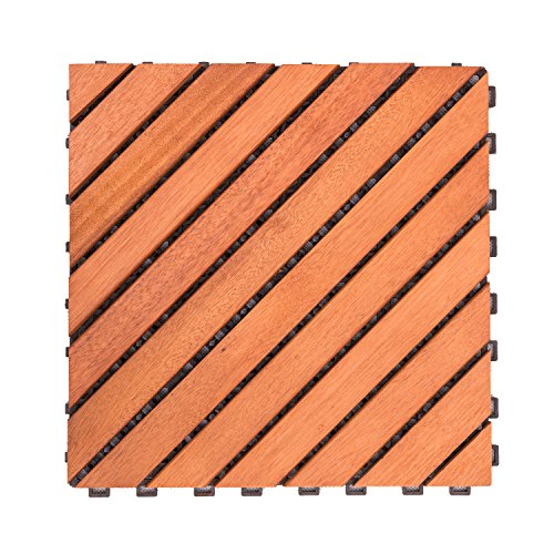 Cheap  Vifah V182 Interlocking FSC Eucalyptus Deck Tile 12-Slat Diagonal Design, 10-Pack, Natural..