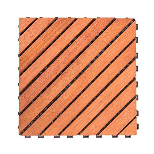Cheap  VIFAH V182 Interlocking FSC Eucalyptus Deck Tile 12-Slat Diagonal Design, 10-Pack, Natural..