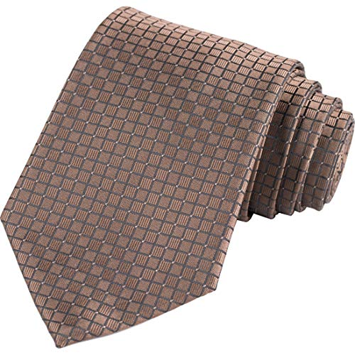 KissTies Coffee Brown Extra Long Tie 63'' XL Checkered Necktie + Gift Box