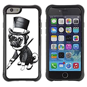 Hybrid Anti-Shock Defend Case for Apple iPhone 6 4.7 Inch / Gentleman Pug Dog wangjiang maoyi