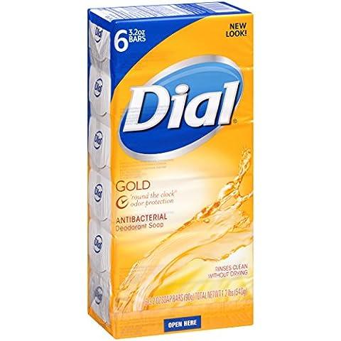 Dial Antibacterial Deodorant Bar Soap, Gold, 3.2 Ounce Bars, 6 Count (Pack of 12) (Dial Bar Gold)