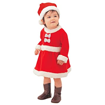 e578c9060 Eleery Baby Girl Toddler Kids Christams Santa Claus Costume Xmas Holiday  Fancy Dress Outfit Cute Zip A-line Dress With A Hat (80): Amazon.co.uk: Toys  & ...