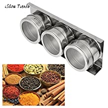 GreenSun(TM) 3PCS Stainless Steel Magnetic Spice Storage Jar Tins Container With Rack Holder Set Salt Pepper Shakers Cooking Barbeque Tool