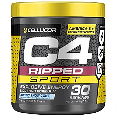 Cellucor C4 Ripped Sport Pre Workout Powder + Thermogenic Fat Burner, Fat Burners for Men & Women, Weight Loss & Energy, Arctic Snow Cone, 30 Servings - NSF Certified for Sport