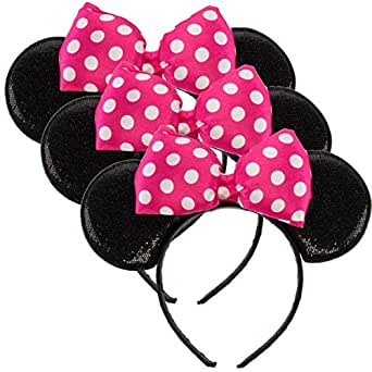 Disney Junior (3 Pack) Licensed Disney Minnie Mouse Headbands Cute Sparkle Ears Bow Costume Accessory