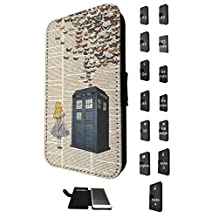 477 - Vintage News alice in wonderland Doctor Who Tardis Call Box butterflies Design Fashion Trend Credit Card Holder Purse Wallet Book Style Tpu Leather Flip Pouch Case Samsung Galaxy A5