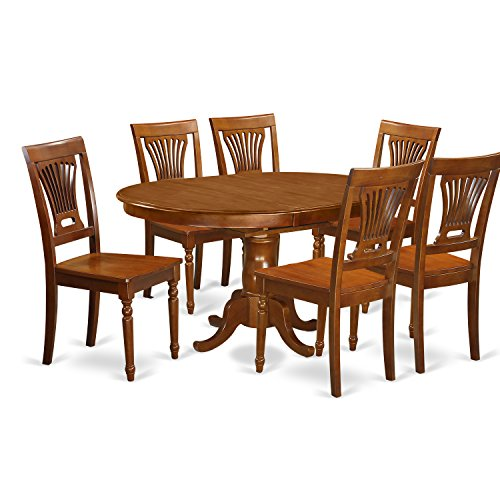 East West Furniture POPL7-SBR-W 7 Piece Portland Table with 18