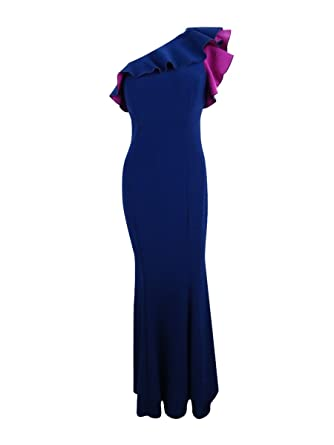Xscape Womens Petites Full-Length One-Shoulder Evening Dress at Amazon Womens Clothing store: