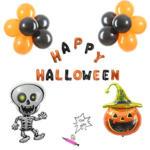 (Yi PF G star Halloween Balloons Sets Party Supplies - Halloween Decorations Includ Happy Halloween Letter 12''Black& Orange Latex Balloons Skulls Pumpkin Balloons (28)