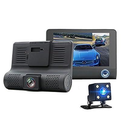 Car camera,?ash cam, 4-inch three-lens 1080P FHD Kabeier HD night vision 170-degree wide-angle video reversing video parking monitoring three-way camera WDR high dynamic camera from Kabeier