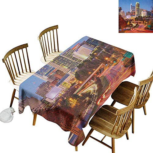DONEECKL United States Wrinkle Free Tablecloth Indoor and Outdoor Tablecloth Raleigh North Carolina USA Express Way Business District Building Skyscrapers Multicolor W60 xL102 (Dining Outdoor Raleigh)