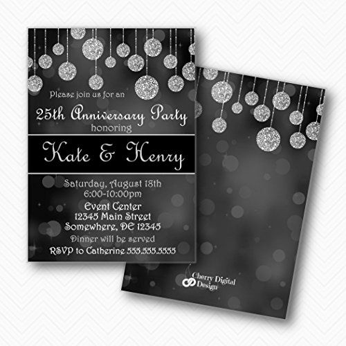 Black Gray White 25th Anniversary Invitations | Envelopes -