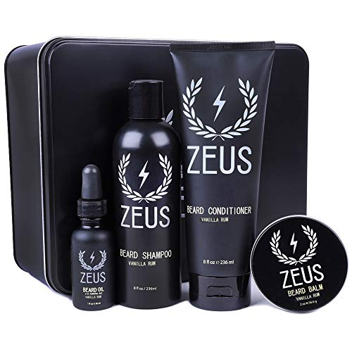 ZEUS Everyday Beard Grooming Kit- Men's Daily Set for Quality Beard Maintenance (Scent: Vanilla Rum)