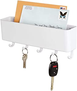 mDesign Wall Mount Plastic Mail Organizer Storage Basket - 5 Hooks - for Entryway, Mudroom, Hallway, Kitchen, Office - Holds Letters, Magazines, Coats, Keys - White