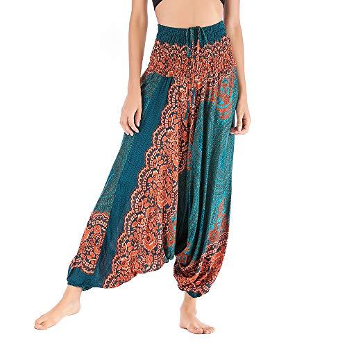 Harem Pants Women's Hippie Bohemian Yoga Pants One Size Aladdin Harem Hippie Pants Jumpsuit Smocked Waist 2 in 1 (Free, Green) by BingYELH Yoga (Image #1)