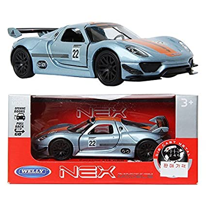 Amazon.com WELLY 134 Porsche 918 RSR / Silver / Toy / DIE