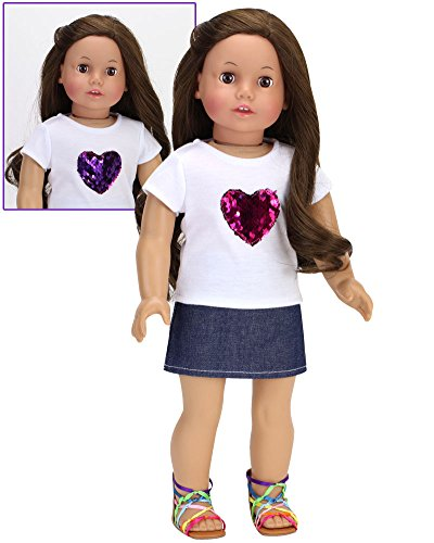 Sophia's Hot Pink Reversible Sequin Heart T & Denim Skirt | 2 Piece Casual and Fun Outfit for 18 Inch Dolls