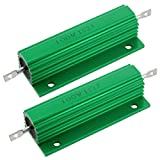 uxcell 2 Pcs 100W 1 Ohm Screw Tap Mounted Aluminum Housed Wirewound Resistors