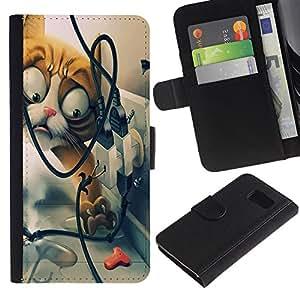Billetera de Cuero Caso Titular de la tarjeta Carcasa Funda para Samsung Galaxy S6 SM-G920 / Funny Funny Cat / STRONG