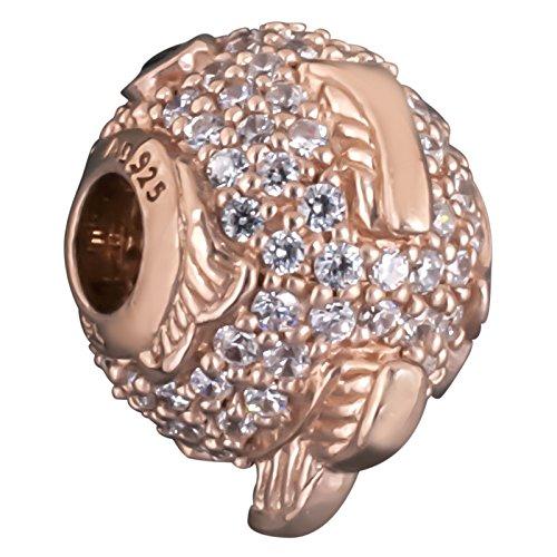 Thomas sabo k 0148-416-14 fugu poisson perles argent plaqué or rose avec strass zirconium