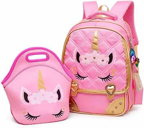 Moonmo Cute Unicorn Face Diamond Sequins Waterproof Princess School Backpack Set Girls Book Bag (Large, Pink Set)