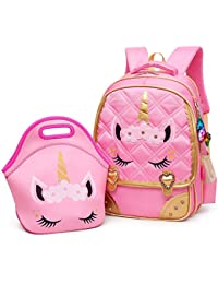 Cute Unicorn Face Diamond Sequins Waterproof Princess School Backpack Set Girls Book Bag