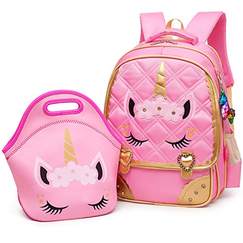 Personalized Book Bags For Girls - Moonmo Cute Unicorn Face Diamond Sequins