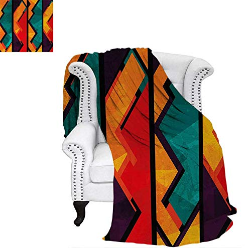 - Throw Blanket Geometric Modern Art Ethnic Design with Black Bold Zig Zag Borders Pattern Warm Microfiber All Season Blanket for Bed or Couch 50