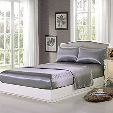 Sookie 4 piece Home Fashions Royal Opulence Satin Full Sheet Set, Gray
