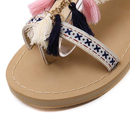 Estilo Retro Borla Albaricoque nuevos ZHZNVX Moda Sandalias Punta Verano Zapatos 39 de de Mezclilla Planos Clip Zapatos Zapatos 1pX1xIan