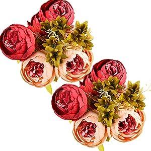 Silk Flower Arrangements Ogrmar Vintage Artificial Peony Silk Flowers Bouquet for Decoration (Dark Pink x2)