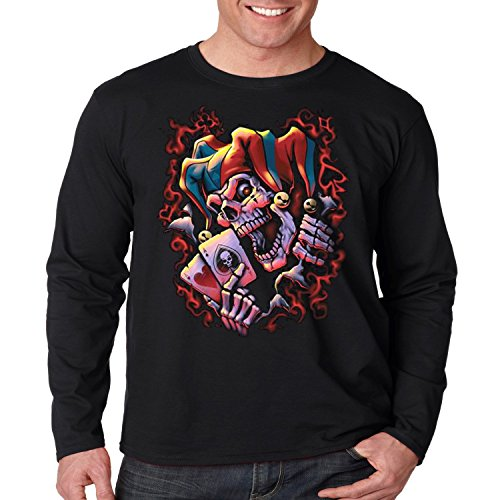Evil Clown Long Sleeve Shirt Wicked Jester Liquid Blue Mens S-3XL (Black, (Wicked Jester Tattoos)