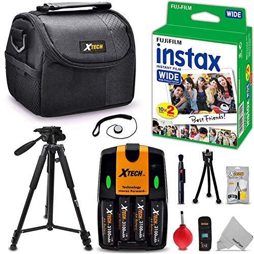 Case Fitted Fujifilm - Complete ACCESSORIES KIT for Fujifilm Instax 300 WIDE includes: 20 Instax WIDE Film + 4AA Batteries (3100mAH) + AC/DC Quick Charger + Custom Fitted Case + Full Size 60' inch Tripod + MORE