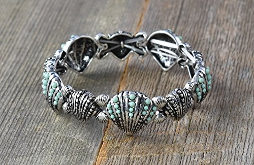 Shell Stretchable Bracelet (Bracelet-Eden Merry-Sealife-Pewter Shell-Stretchable)