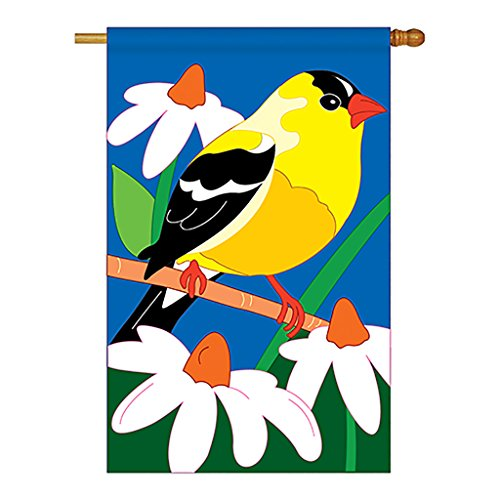 (Two Group - Gold Finch Garden Friends - Everyday Birds Applique Decorative Vertical House Flag 28