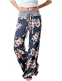 Mujeres Casual Comfy Chic Floral Cordón Largo Wide Leg Pants