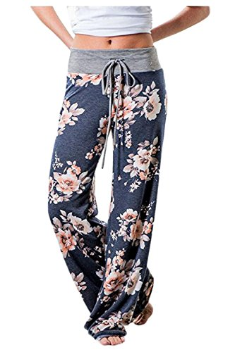 Aifer Women's Comfy Casual Pajama Pants Floral Print Lounge Drawstring Palazzo Long Wide Leg Pants Blue