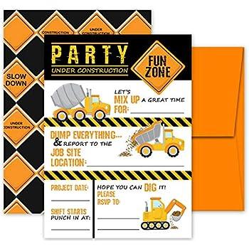 amazon com construction birthday party invitations fill in style